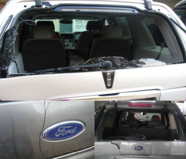 Ford Explorer Cracked Rear Panel and Windshield